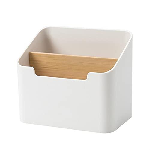 JUNGE Caja de Almacenamiento de hogar Control Remoto Cosmético Teléfono móvil Caja de Almacenamiento Adecuado para Sala de Estar Dormitorio Tocador de Oficina (Color : White)
