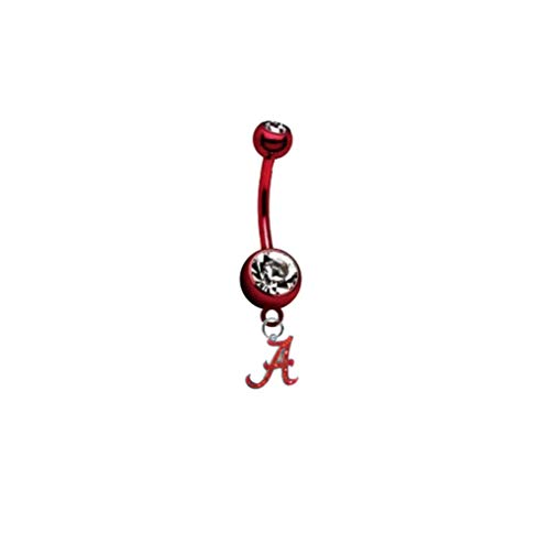 "Alabama Crimson Tide ""Glitter"" PREMIUM Red Titanium Anodized Sexy Belly Button Navel Ring"