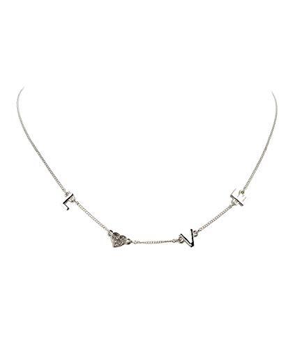 SIX Silberglänzende Halskette mit Schriftzug Love und Glitzer-Herz (526-765)