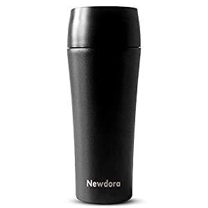 Newdora Thermobecher , Kaffee to go 380ml Becher Travel Mug Isolierbecher Kaffeebecher BPA-frei, Auslaufsicher Reisebecher für Kaffee,Tee,Trinkflasche für Reisen,Arbeit,Schule,Fahren (Schwarz)