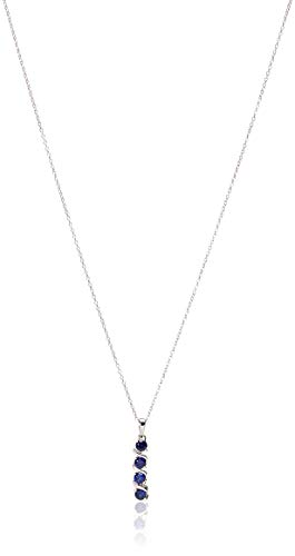 """Amazon Collection Sterling Silver Created Blue Sapphire Four Stone Pendant Necklace, 18"""""""