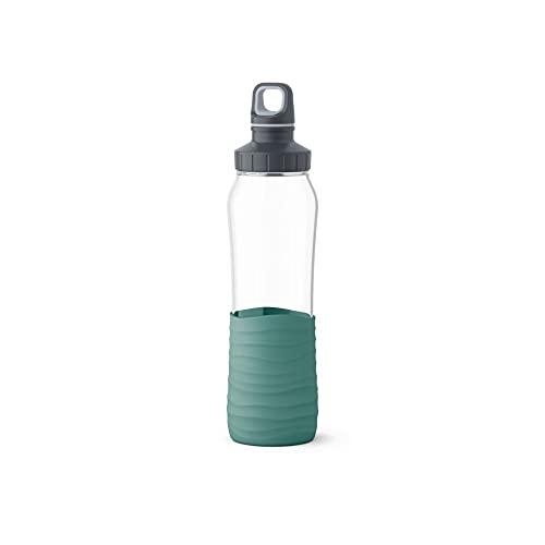 Emsa N31003 Drink2Go Glas Trinkflasche   Fassungsvermögen: 0,7 Liter  Schraubverschluss   Petrol-Grün