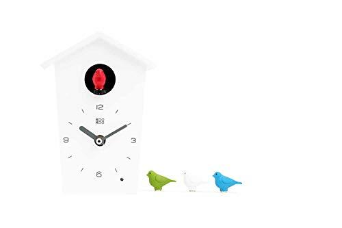 KOOKOO Birdhouse Mini Weiß, Design Kuckucksuhr mit 12 Vogelstimmen oder Kuckuck