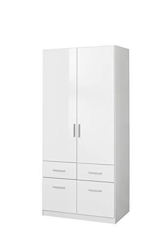 Rauch Möbel Salvador Schrank Kleiderschrank Drehtürenschrank, Weiß, 2-türig mit 4 Schubladen, inkl. Zubehörpaket Basic 1 Kleiderstange, BxHxT 91x197x54 cm