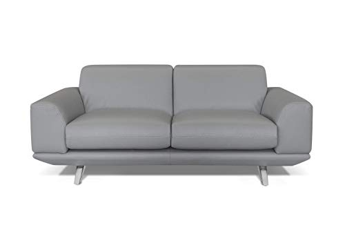Marchio Amazon -Alkove, divano in pelle modello Sofia, stile moderno, maxi 2 posti, colore grigio chiaro