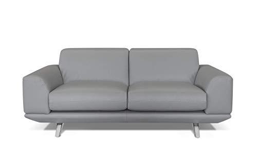 Amazon Marke -Alkove Sofia Modernes Ledersofa, 2-Sitzer Maxi, HELLGRAU