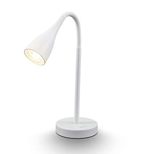 B.K.Licht Lampada LED da tavolo orientabile a 360°, include lampadina GU10 5W, luce calda 3000K, 400Lm, lampada da scrivania per ufficio o abat-jour da comodino per la camera da letto, bianca, IP20