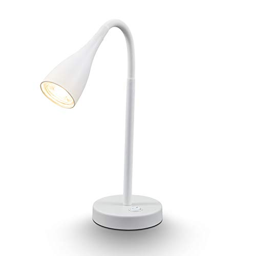 B.K. Licht I Tischlampe I LED Tischleuchte I Nachttischlampe I flexible Schreibtischlampe inkl. GU10 LED I 5W I 400lm I 3.000K I Weiß