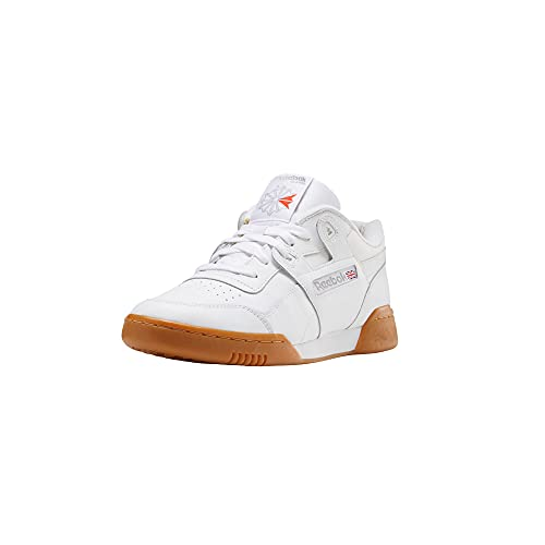 Reebok Men Workout Plus Sneaker, White/Carbon/Classic red, 11.5