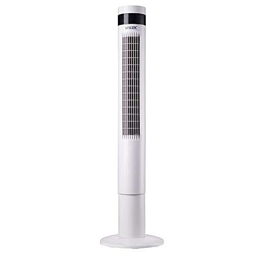 MYLEK Electric Tower Fan Oscillating 50W - 3 Cooling Quiet Speed Settings, 12 Hour Timer, 3 Fan Modes, Remote Control Operation - 110cm (White) Home & Office
