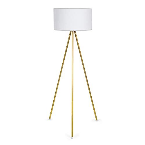 Tomons Lámpara de Pie LED Regulable Contemporánea con Trípode de Metal, para Sala de Estar y Dormitorio, Estilo Moderno - Dorado