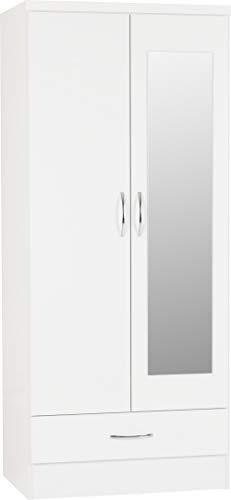 PALAKLOT High Gloss 2 Door 1 Drawer Mirrored Wardrobe Modular Cabinet for Space Saving Ideal Storage Organizer (White)