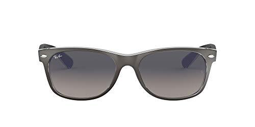 Ray-Ban Unisex New Wayfarer Sonnenbrille, Mehrfarbig (Gestell: Gunmetal/transparent, Gläser: grau verlauf 614371), Large (Herstellergröße: 55)
