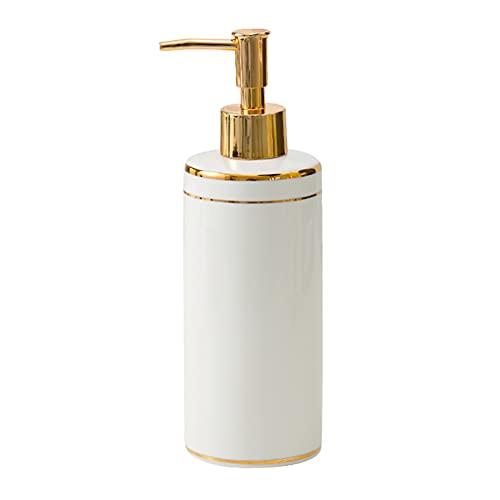 QAY Dispensador De Jabón, Dispensador De Jabón De Cerámica, Botella De La Bomba De Jabón En Forma De Cilindro De Mármol, para El Baño Y El Hotel De La Cocina.(Size:390ML,Color:F)