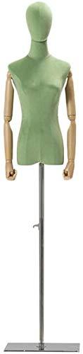 Kleiderpuppe Weibliche Schneider Dummy Mannequin Torso Körperkleiderform mit Kopf Wood Arms Metallständer for Kleidung Schmuck-Anzeigen (Color : Green, Size : Medium)