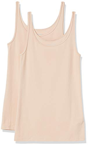 Amazon Essentials Women's 2-Pack Slim-fit Thin Strap Tank, Light Beige/Light Beige, Medium