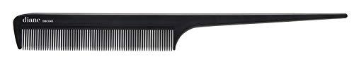Diane Pente de cauda de rato iônico – pente antiestático de dentes finos e corte de cabelo, ferramenta de modelagem para mulheres, homens, cabeleireiros com cabo longo e fino, preto, 20 cm, DBC043
