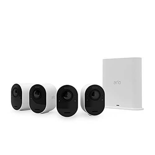 Arlo Ultra 2 Spotlight Security Camera CCTV System | Wire-Free, 4K Video & HDR | Color Night Vision, 2-Way Audio, 6-Month Battery Life, 180° View | Works with Alexa & Google | White | VMS5440