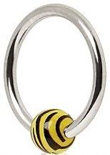 Piercing Boutique Chirurgisch Staal BCR Captive Kralen Ring Hoop Oorbel Met Zebra/Tijger Print bal. 1,2 mm Dikte (16 gauge) x 10 mm Diameter Eén Stuk Geel
