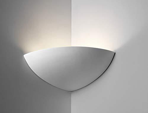 Applique da parete angolare gesso bianco verniciabile Made in italy e27 led per interni moderna