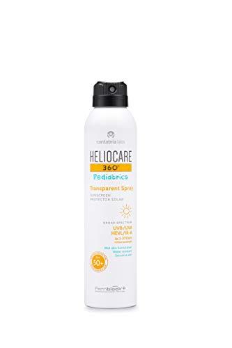 Heliocare 360º Pediatrics Transparent Spray SPF 50+ - Spray Solar para Niños, Fácil Aplicación y Absorción, Eficaz sobre Piel Mojada, Hipoalergénico, 200ml