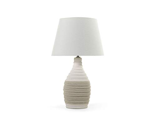 Beliani Klassische Tischlampe runder Lampenschirm Kunstseide/Porzellan Beige Tormes