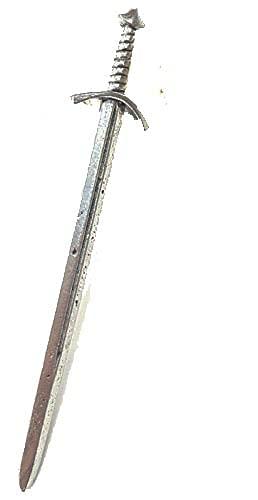 H2 - Colgante de peltre con espada de batalla en plata de ley 925, cadena de 45 cm hecha a mano