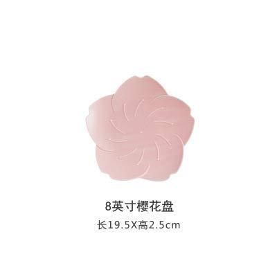 LILICEN Flor de cerezo japonesa placa de cerámica creativa comida de la tarde de té plato placa Personalidad del hogar placa plana Vajilla Snack-Plate 8 pulgadas cereza Disco - Pequeño - rosa -1 19.5X