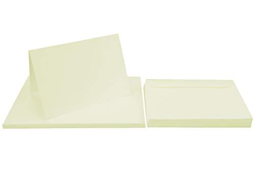 Netuno 50 Falt-Karten mit Umschlägen DIN A6 Karten Creme blanko + 50 Umschläge DIN C6 Kartenset Klappkarten + Briefumschläge C6 Papier-Karten blanko zum Selbstgestalten Karten Set mit Umschlag Ecru
