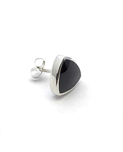 Gents Whitby Jet and Sterling Silver Single Stud Earring Handmade in Whitby.