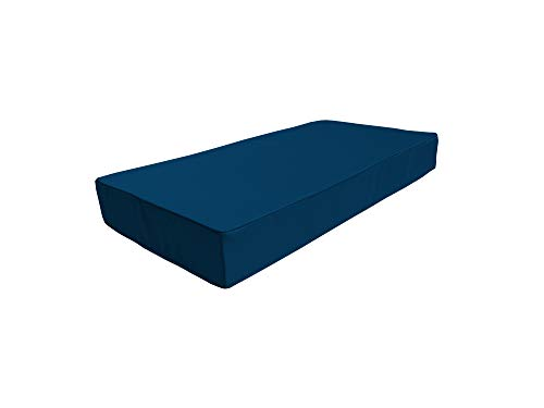 cojín para palets Impermeable con Ribete Decorativo sofá de Patio cojín para Muebles de jardín Funda Extraible (Asiento 120 x 80 x 15, Azul Oscuro)