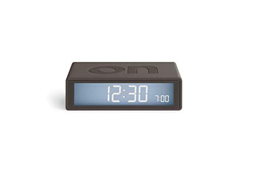 Lexon Flip Plus Reisewecker mit LCD-Display, funkgesteuert, Grau