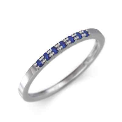 サファイア(青) Pt900 ハーフ エタニティ 指輪 平らな指輪 レディース 微細 21.5号