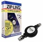 Ziplinq ZIP-DATA-RJ45 Retractable Cable, 8P4C, RJ45, Networking (4 feet, Black)