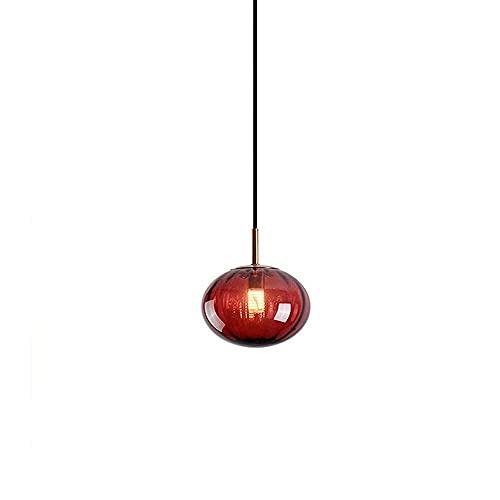 NZDY Iluminación Colgante de Vidrio de Grano de Agua de Colores de Estilo Nórdico, Lámpara de Araña Creativa de un Solo Cabezal en Forma de Esfera, Lámpara Colgante Moderna Y Minimalista en Forma de