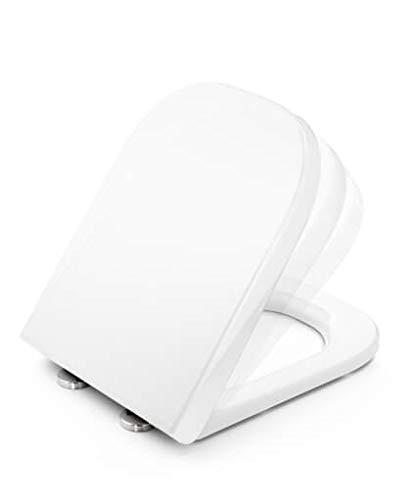Tapa y asiento de inodoro con caída amortiguada - Compatible con Roca...