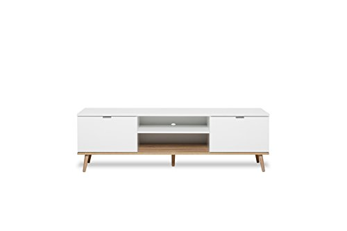 TV Lowboard - Unterteil Göteborg in matt weiß und Sonoma Eiche, Unterschrank mit Massivholz 160 x 51 cm