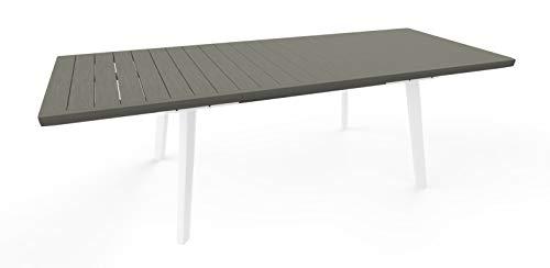 Keter Tavolo Per Giardino Harmony Allungabile Adatto Per 6/10 Persone, Bianco e Grigio 162 - 241 X 100,5 X 76 Centimetri