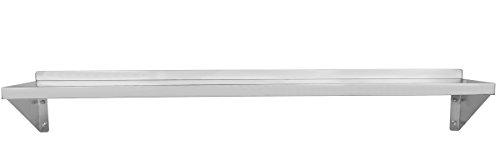 Beeketal 'WAB-150' Gastro Edelstahl Küchen Wandregal 1500 mm Länge x 300 mm Tiefe, 1 Ablagefläche mit 35 kg Tragkraft, rückseitige Aufkantung, inkl. Wandmontagematerial