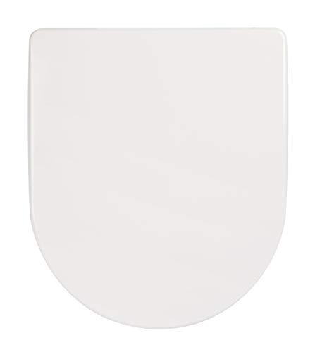 Calmwaters® WC Sitz D-Form Toilettendeckel, Eingetragene Marke - Made in EU, antibakteriell mit Absenkautomatik, abnehmbarer Toilettensitz Original, Edelstahl-Top-Fix-Befestigung, Duroplast, 26LP2806