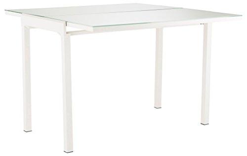 Soliving MATHILDE Table Extensible Plateau, Verre, Blanc, 165 x 55 x 76 cm