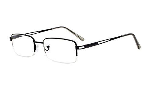 Eyekepper rechthoek metaal halve rand veerscharnier computerbril leesbril +0.75 zwart