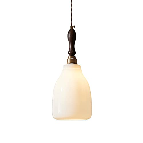 WANQINV Candelabro de nogal minimalista nórdico E27 Fuente de luz Lámpara colgante Pantalla de vidrio blanco como la leche Luz colgante Lámparas colgantes de interior Sala de estar Balcón Pasillo Ilum