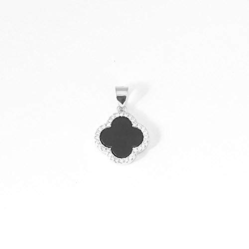 B/H Vierblättriges Kleeblatt Halskette weiblich, S925 Sterling Silber Anhänger-schwarz,Original Design, Elegante Geschenkverpackung