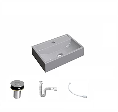 Kit Cuba Q45 C/Válvula Click 1''B (2,6cm) + Sifão Pvc + Flexível Cinza