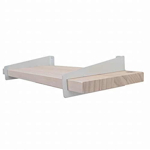 Pack 2 estanterias de Pared - estanteria de Madera Blanca, Nogal o Natural - Made in BCN - Incluye Tacos y Tornillos - Estante para Libros - balda, libreria, repisa - (Blanca Soporte Blanco)