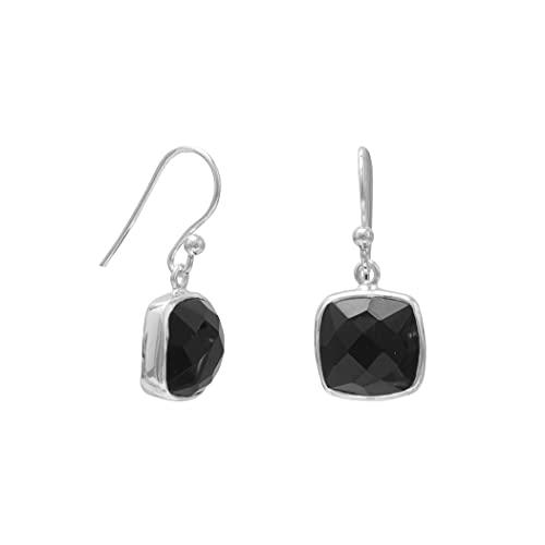 Pendientes de plata de ley 925 pulida de 10 mm cuadrados facetados negros simulados ónix francés alambre joyería regalos para mujeres