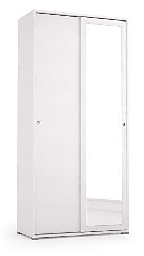 Armadio con Specchio, e Ante Scorrevoli, Colore Bianco, Mis. 90 x 45 x 195 cm