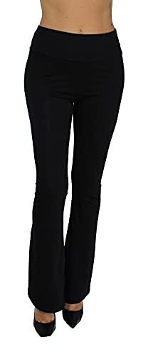 Pantaloni Donna Campana Aderenti Zampa Elefante Elasticizzati (Nero, M)