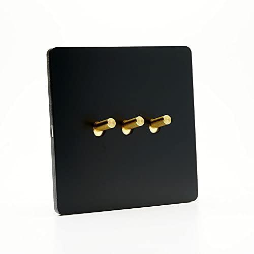 Yoaodpei Interruptor de Palanca Retro Interruptor de Pared de Color Negro Antiguo 86 Tipo Panel de Acero Inoxidable 1 Gang / 2 Gang / 3 Gang 2 vía Interruptor de luz con Palanca de Cobre para hogar